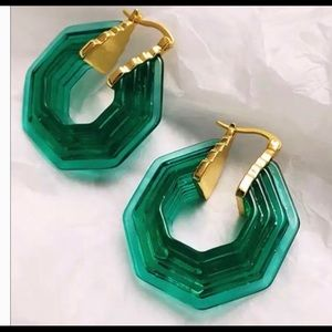 dd05ebca6662c Celine shape Green Lucite hoops earrings